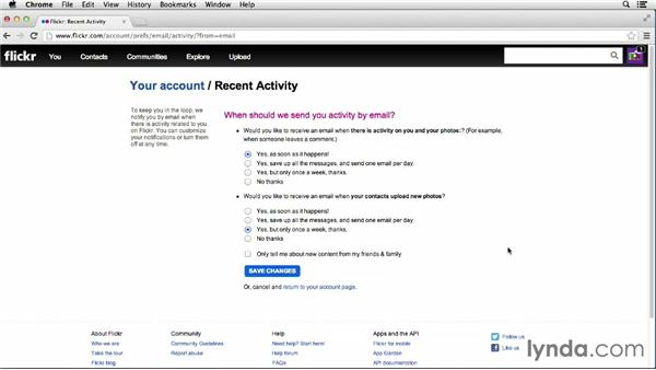 Specifying email settings: Flickr Essential Training