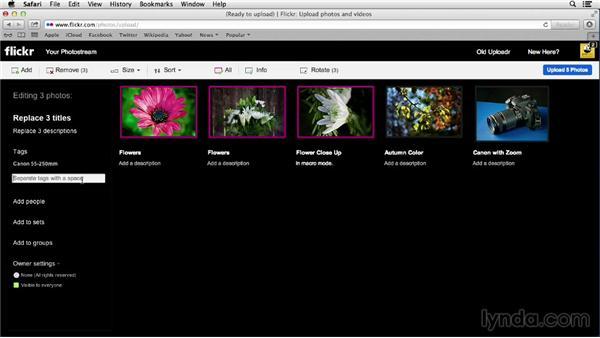 Uploading photos using the upload link: Flickr Essential Training