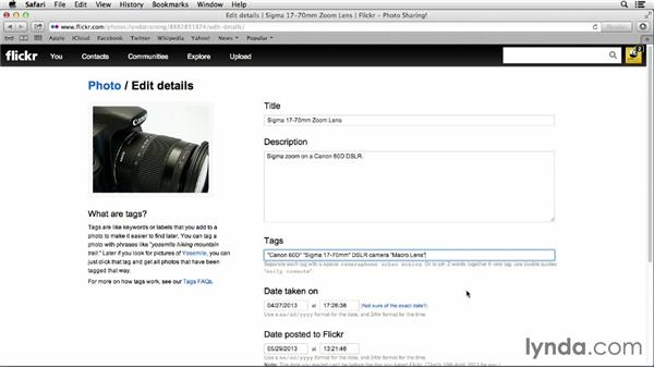 Make photos easy to find: Adding tags and searching with tags: Flickr Essential Training