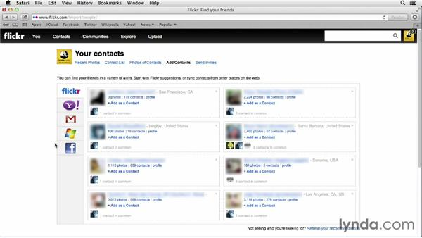 Adding contacts: Flickr Essential Training