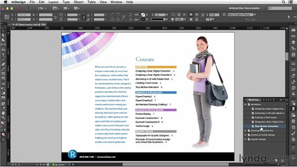 Using bookmarks: InDesign CC: Interactive Document Fundamentals (2014)