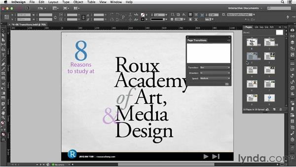 Using page transitions: InDesign CC: Interactive Document Fundamentals (2014)