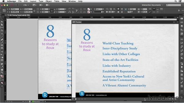 Using the Timing panel: InDesign CC: Interactive Document Fundamentals (2014)