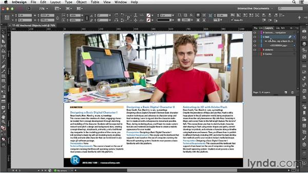Using anchored objects: InDesign CC: Interactive Document Fundamentals (2014)