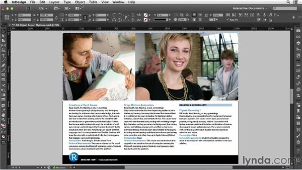 Setting object export options: InDesign CC: Interactive Document Fundamentals (2014)