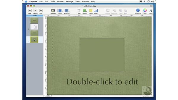 adding and deleting slides: Learning Keynote