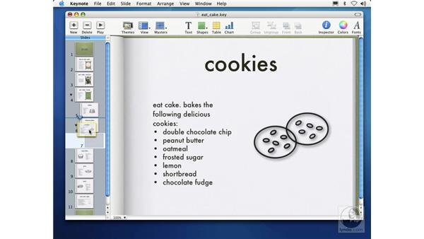 ordering and organizing slides: Learning Keynote