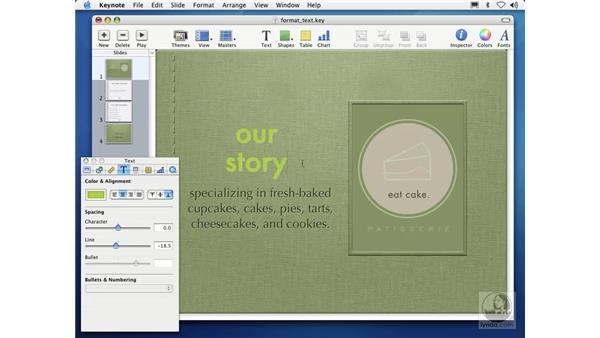 formatting text: Learning Keynote