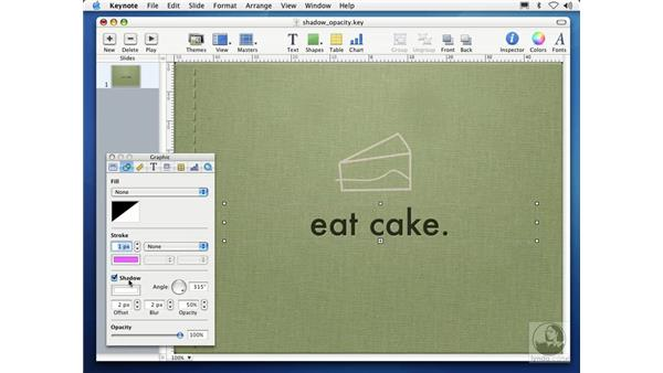 adding a stroke or shadow to text: Learning Keynote