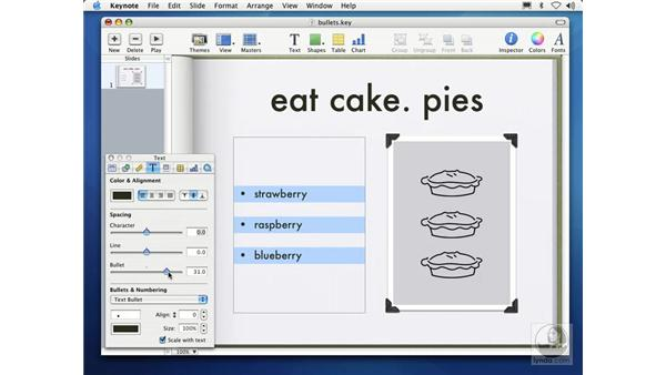 adding bulleted text: Learning Keynote