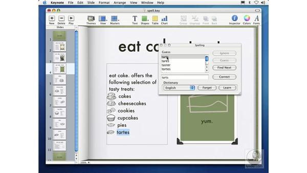 checking spelling: Learning Keynote