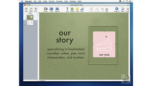adding graphics: Learning Keynote