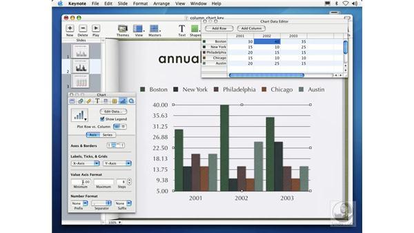 creating column charts: Learning Keynote