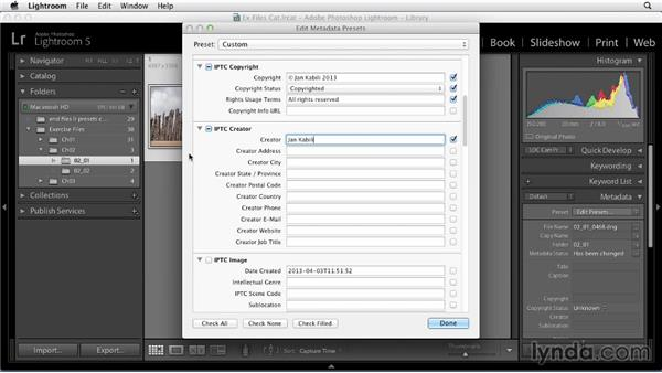 Making copyright and contact metadata presets: Using Presets in Lightroom