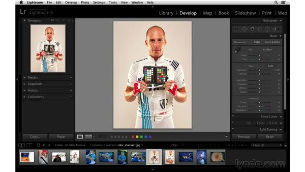 Correcting white balance with a color checker: Lightroom 5 Essentials: 03 Develop Module Basics