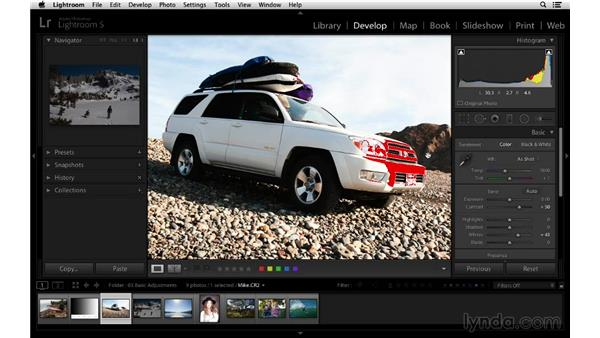 Using the histogram to correct exposure: Lightroom 5 Essentials: 03 Develop Module Basics