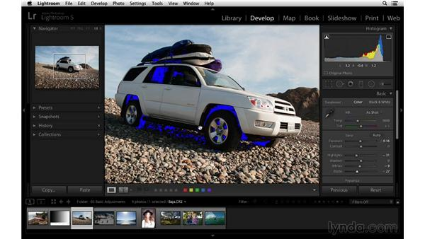 Turning on the clipping indicators to show problem areas: Lightroom 5 Essentials: 03 Develop Module Basics