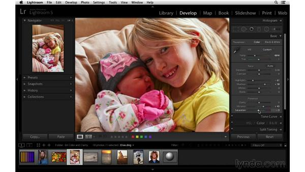 Using vibrance and saturation in a portrait workflow: Lightroom 5 Essentials: 03 Develop Module Basics
