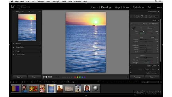 Color creativity with temperature, vibrance, and saturation: Lightroom 5 Essentials: 03 Develop Module Basics