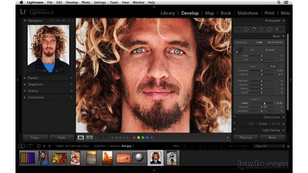 Using clarity in collaboration with vibrance and saturation: Lightroom 5 Essentials: 03 Develop Module Basics