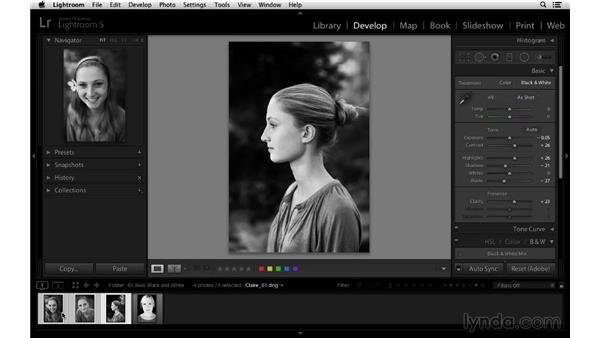 Synchronizing black-and-white settings across multiple images: Lightroom 5 Essentials: 03 Develop Module Basics