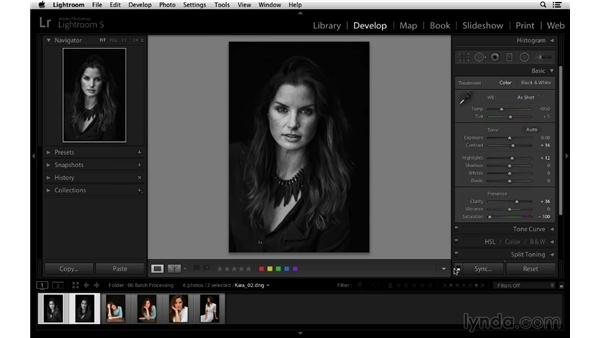 Synchronizing adjustments to multiple images: Lightroom 5 Essentials: 03 Develop Module Basics