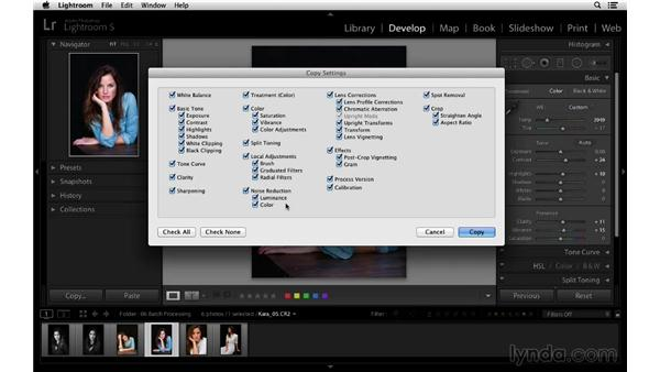 Copying and pasting settings across multiple images: Lightroom 5 Essentials: 03 Develop Module Basics