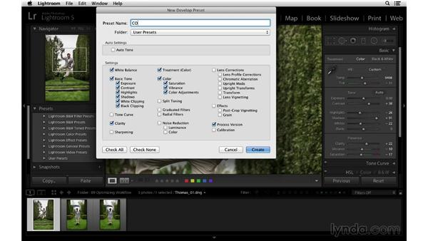 Creating your own custom presets: Lightroom 5 Essentials: 03 Develop Module Basics