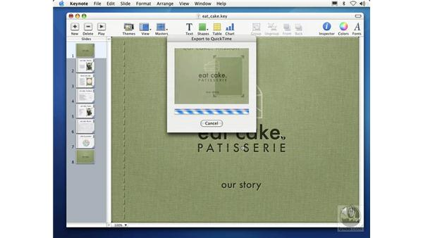 exporting as self-playing QuickTime movies: Learning Keynote