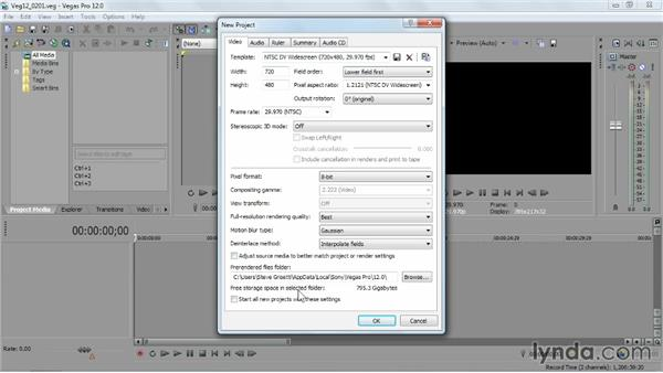 Setting up a new Vegas project: Sony Vegas Pro Essential Training