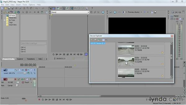 Importing video from a storage drive camcorder: Sony Vegas Pro Essential Training