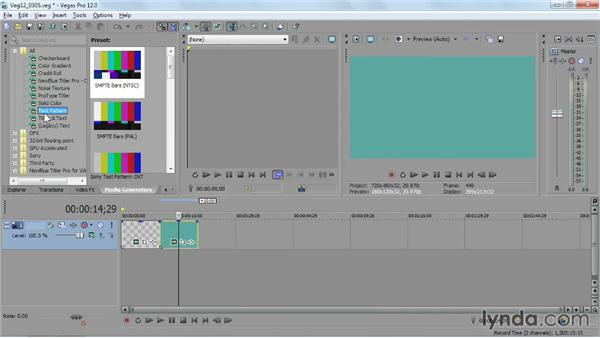 Creating titles and specialized media with media generators: Sony Vegas Pro Essential Training