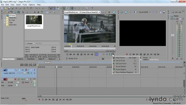 Pretrimming and saving subclips with the Trimmer: Sony Vegas Pro Essential Training