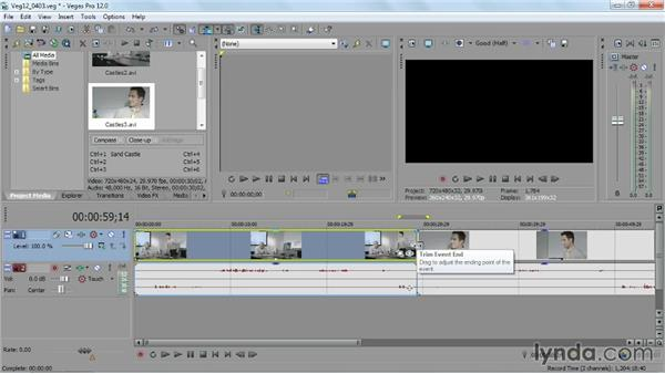 Adding and trimming events on your timeline: Sony Vegas Pro Essential Training