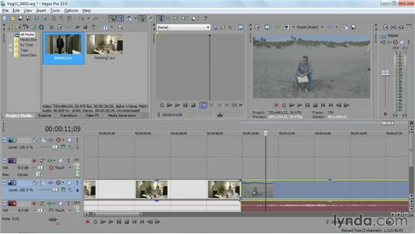 Adding and customizing a transition: Sony Vegas Pro Essential Training