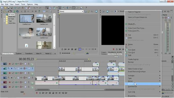 Selecting and grouping events: Sony Vegas Pro Essential Training