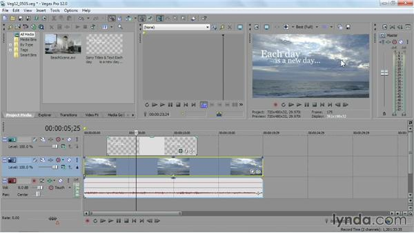 Grabbing a freeze frame from your movie: Sony Vegas Pro Essential Training