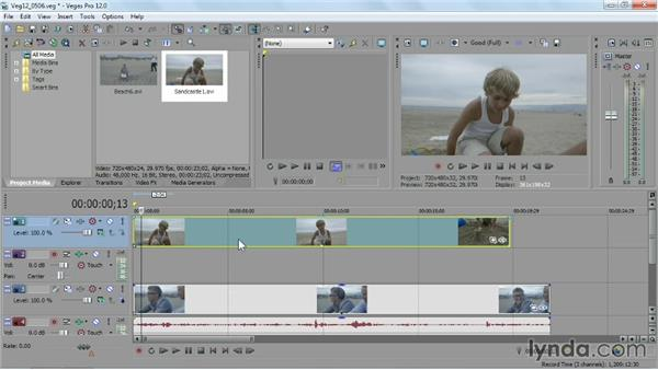 Working with multiple tracks of video: Sony Vegas Pro Essential Training