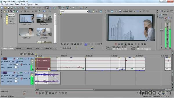 Editing audio on the timeline: Sony Vegas Pro Essential Training