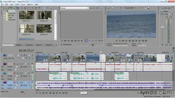 Mixing audio with keyframed audio envelopes: Sony Vegas Pro Essential Training