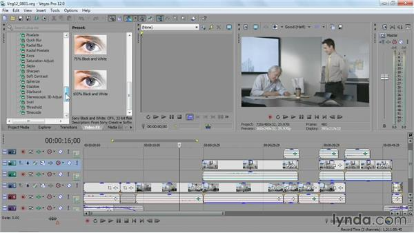 Ways to apply video FX to your movie: Sony Vegas Pro Essential Training