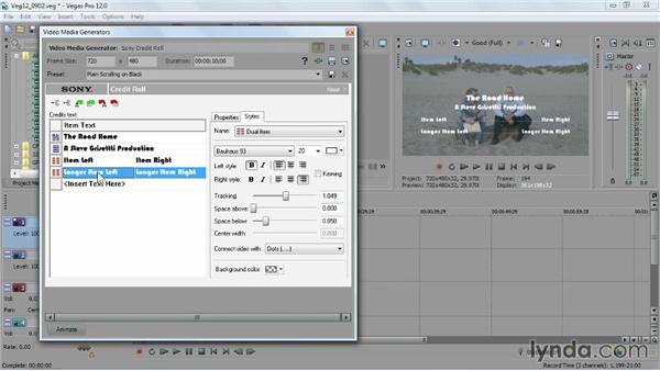 Adding a rolling or scrolling title: Sony Vegas Pro Essential Training