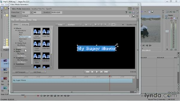 Using the NewBlue 3D Titler Pro: Sony Vegas Pro Essential Training