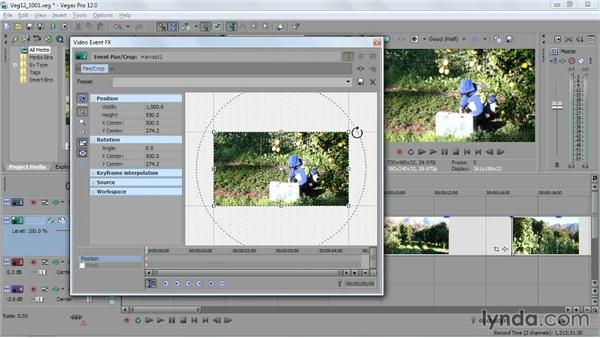 Keyframing a pan-and-crop animation: Sony Vegas Pro Essential Training