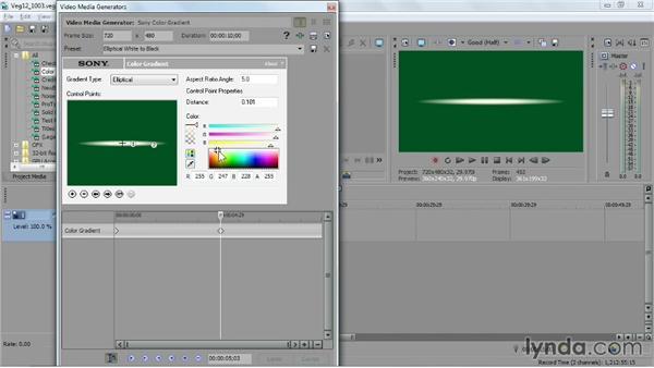Keyframing a generated media animation: Sony Vegas Pro Essential Training