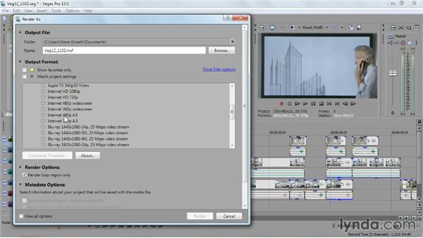 Outputting a movie for the web: Sony Vegas Pro Essential Training