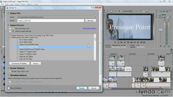 Outputting video for a portable device: Sony Vegas Pro Essential Training