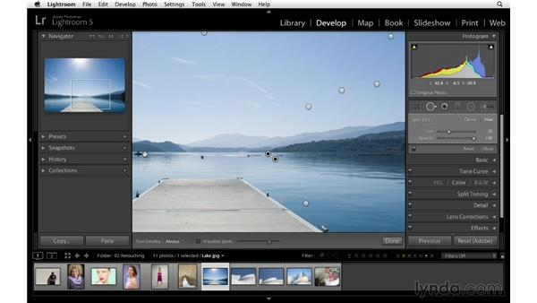 Retouching away linear issues: Lightroom 5 Essentials: 04 Develop Module Advanced Techniques