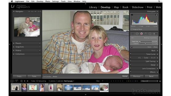 Fixing red-eye: Lightroom 5 Essentials: 04 Develop Module Advanced Techniques
