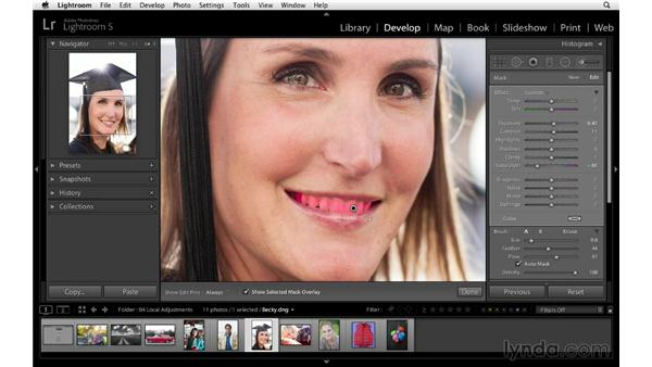 Whitening teeth: Lightroom 5 Essentials: 04 Develop Module Advanced Techniques